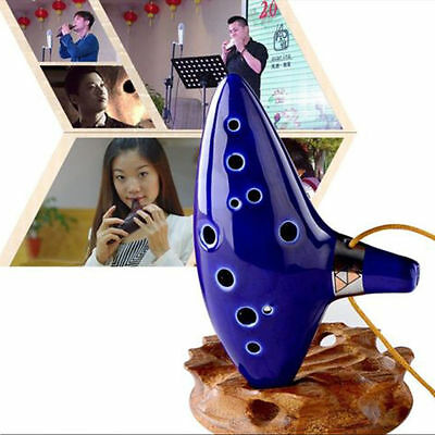 12Hole Ocarina Ceramic Alto C Legend of Zelda Ocarina Flute Blue Instrument RX