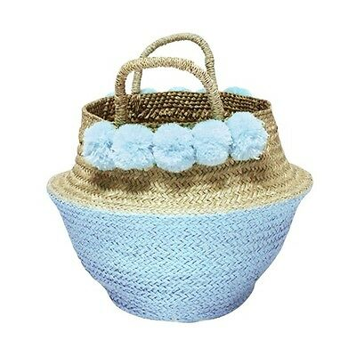 Baby Blue PomPoms Sea Grass Belly Basket, Nursery Storage, Holiday Gifts