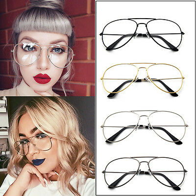 Unisex Women Men Gold Metal Frame Clear Lens Vintage Retro Fashion Glasses AU