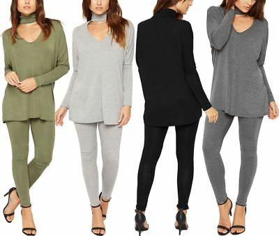 Ladies Long Sleeve Top Legging Scoop Twin Set Womens Choker Neck Co-Ord Suit Lot