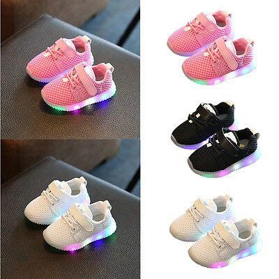 LED Baby Boys Girls Shoes kids Light Up Luminous Child Trainers Canvas Sneakers