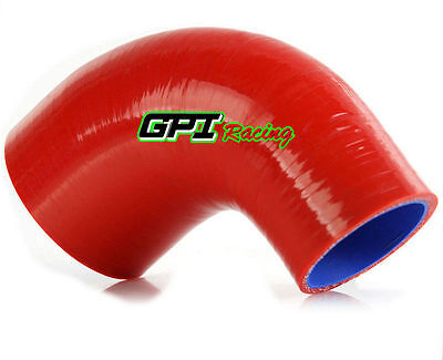 "Red 90 Degree 76mm - 102mm 3"" to 4"" Silicone Elbow Reducer Intercooler Hose pipe"