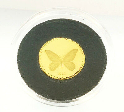 24Carat Gold Papua New Guinea K10 Butterfly Coin in Protective Case.