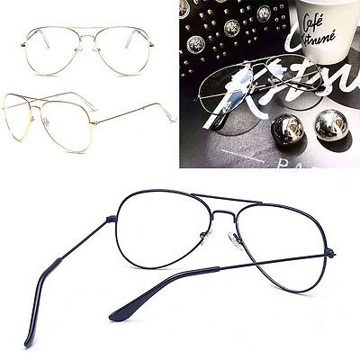 Clear Lens Aviator Glasses Fashion Pilot Metal Frame Gold Silver Sunglasses 2017