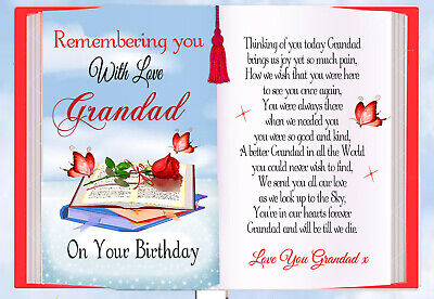 Grandad Birthday Rememberance Graveside Bereavement Memorial Bookcard & Holder