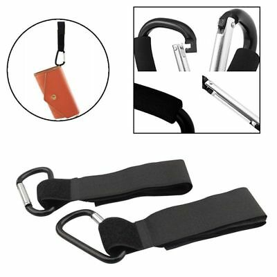 2x Universal Mummy Buggy Clip Pram Pushchair Shopping Bag Carabiner Hooks Straps