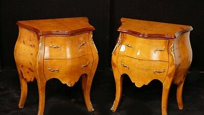 Pair French Empire Bombe Commodes Chests Nightstands Bedside Chests