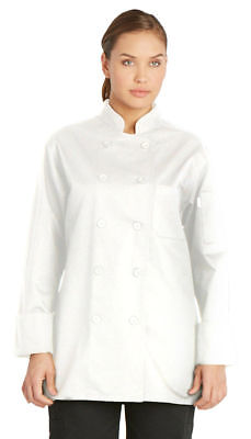 Dickies Chef Women's Long Sleeve Double Needle Button Front Chef Coat. DC414