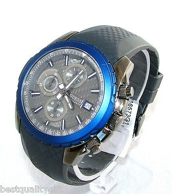 New Guess Grey,gray & Blue Rubber Band+Chronograph Dial+Date Men Watch W16573G1
