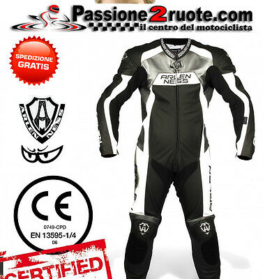 Full suit skin Arlen Ness 9473 black white leather 1 piece racing suit