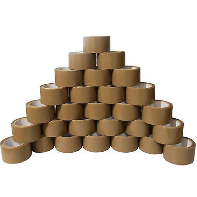 72 ROLLS STRONG BROWN BUFF PARCEL PACKING TAPES PACKAGING BOX SEALING 48MM x 66M