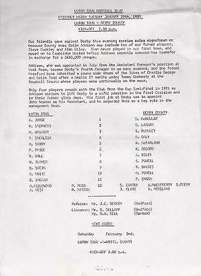 LUTON TOWN v DERBY COUNTY FRIENDLY 29 JANUARY 1980 ~ RARELY SEEN SINGLE SHEET