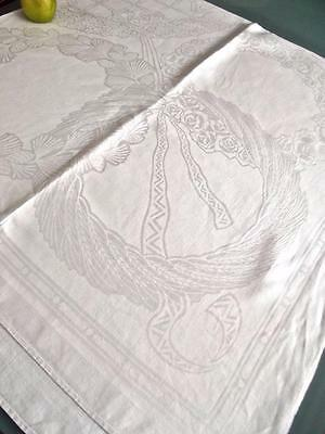"Antique French Deco Linen 70""Sq Bridal Tablecloth Topper Damask Roses Wheat Pine"