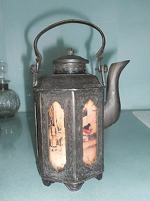 Authentic Antique Chinese Bronze Metal Teapot With Hand Painted Panels