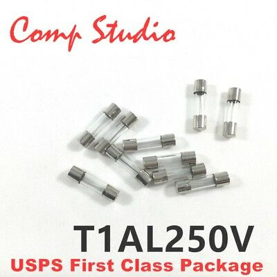 10Pcs 5X20mm 1A 250V Slow Blow Fuse Slow-Acting Fuse Time-Delay Fuse T1AL