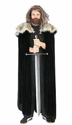 Adult Show Game of Thrones Medieval North King Ned Stark Fur Costume Cloak Cape