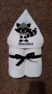Personalized Raccoon Woodland Creature Hooded Towel
