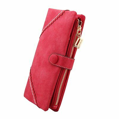 FUNOC Women Fashion Leather Wallet Button Clutch Purse Lady Long Handbag Bag