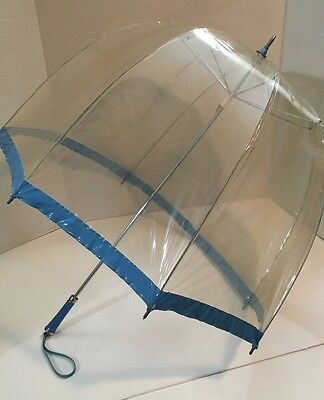True Vintage Umbrella Clear Blue Trim Retro Hipster Pin Up  Glam