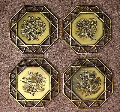 Lot of 4 SYROCO 1975 Dart Home Floral Vintage Wall Art COMPLETE SET 7395 A B C D