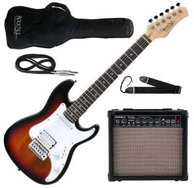 Electric Guitar Junior Package Amplifier Cable Gigbag Strings Strap Set Sunburst