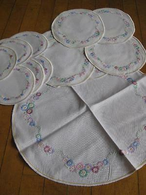 Pretty Vintage Irish Linen Table Set- Hand Embroidery of Flowers