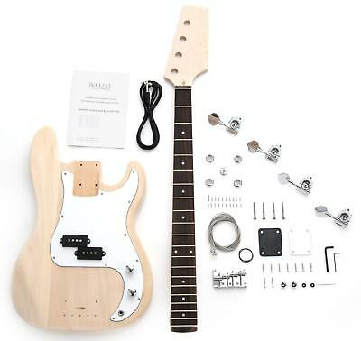 Electric Bass Guitar Diy Assembly Kit Do It Yourself Home Made Pb Style & Cable