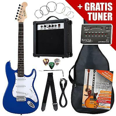 Electric Guitar Pack Amplifier Tuner Cable Strings Strap Gigbag Plectrums Blue