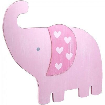 Elephant Nursery Wall Art Pink Paint With Hearts Hanging Wall Decor Baby Girls