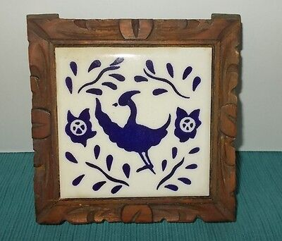 Vintage 60's/70's Mexican Tile Trivet-Carved Wood Frame-Blue & White Bird Design