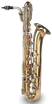 SAXOPHONE BARITONE SAX Eb TUNING BASS DUOBLE FLAP BRACES LAQUERED BRASS SET