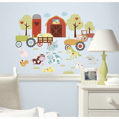 Baby Nursery Wall Decals Farm Animals Kids Room Decor Wall Stickers Vinyl Art