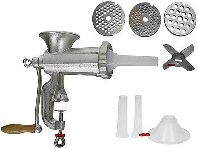 "Heavy Duty Cast Iron Hand Mincer Meat Machine 2in1 SAUSAGE MAKER 8"" jam"