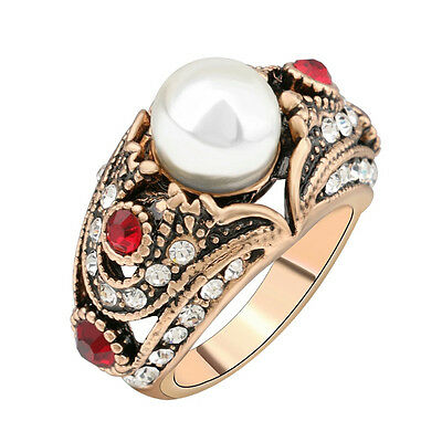 Rhinestone ruby resin red crystal pearl statement ring women's fashion jewelry