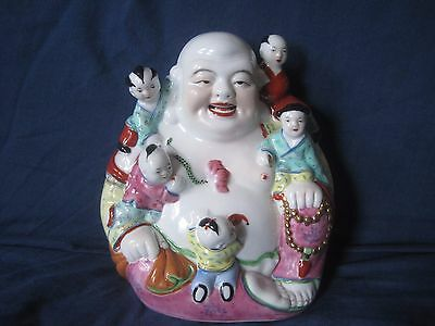 Antique Chinese Rose Famille Happy Buddha with Children/Kids - Laughing Buddha