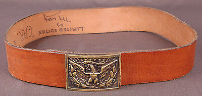 """Vtg Leather Belt-Distressed-Cowboy-Western-Brass Eagle Buckle-by Murry-36-2""""Wide"""