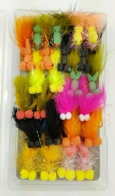X24 Boobies, Assorted Fly Fishing Flies, Sizes 10/12, Complete With Box!