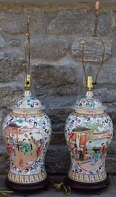 Pair of Chinese Export Ginger Jar Table Lamps w/ Scenes Wooden Bases, 36""