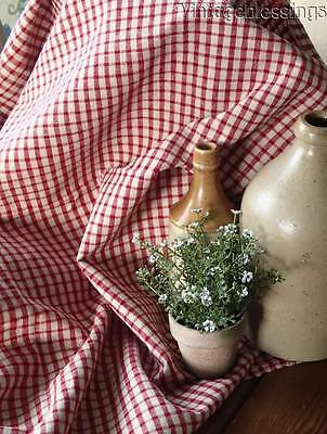 Red & Off White Check Antique c1890 FRENCH Country Linen 37x30
