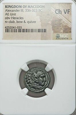 Macedonian Kingdom Alexander III NGC VF AE unit Ancient Silver Coin
