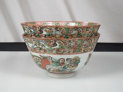 Chinese Export Porcelain 1000 Butterfly 2 Rice Bowls- Famille Rose