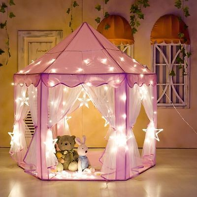 Girls Pink Blue Princess Castle Cute Playhouse Kids Play Tent Outdoor Toys Gifts