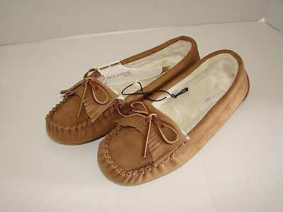 NEW New Women Faux Fur Lined Moccasin Slippers/Shoes - Chestnut - Size M (8)