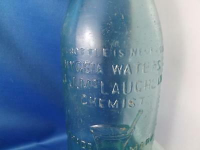 Hygeia Waters  J.j. Mclaughlin Toronto Chemist Blue Glass Bottle Never Sold