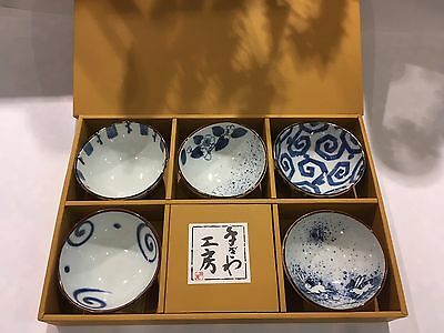 Japanese Bowls of 5 Blue Somekoubou Oval Ceramic Made in Japan NEW F/S