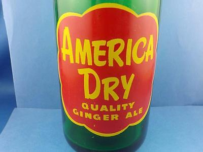 America Dry Pop Soda Bottle Quality Ginger Ale Paint Label Green Glass 30 Fl Oz