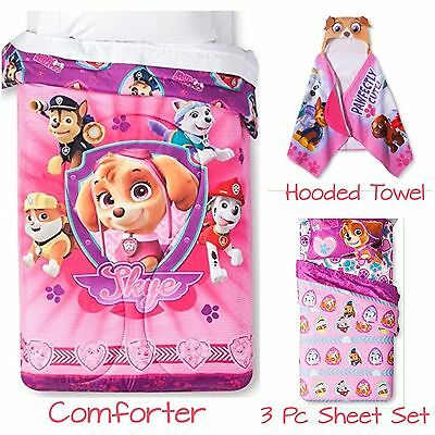 Paw Patrol Skye Twin Comforter Sheets & Hooded Towel Pink Purple  New with Tags!