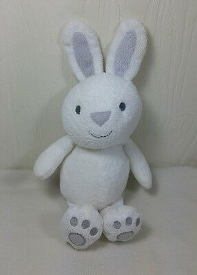 """Carters Just One You White Gray Bunny Rattle Plush Stuffed Animal Baby Toy 8"""""""