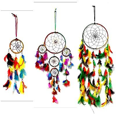 Set of 3 Handmade Feather Dream Catcher Hanging Decoration Ornament Craft Gift