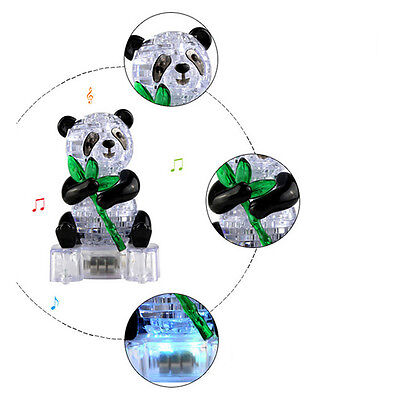 3D Clear Puzzle Jigsaw Assembly Model Diy Panda Intellectual Toy Gift With Light